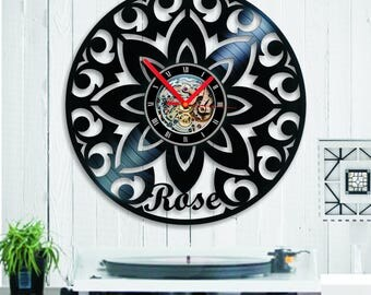 Vinyl clock individual project, especially for you on birthdays, wedding anniversary, unique gift for ROSE