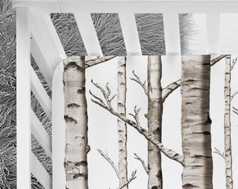 Woodland Birch Trees Black and White Fitted Crib Sheet, baby boy nursery, trees crib sheet, woodland nursery, explorer nursery, bedding