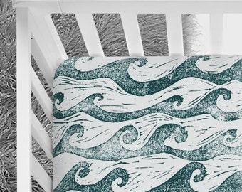 Waves crib sheet, ocean, surfer nursery, baby boy, baby girl, baby bedding, ocean waves, nautical, surfer baby, beach bum, fitted crib sheet