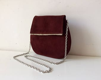 evening bag, suede clutch, brown leather bag made in italy, handmade bag with steel shoulder and internal satin