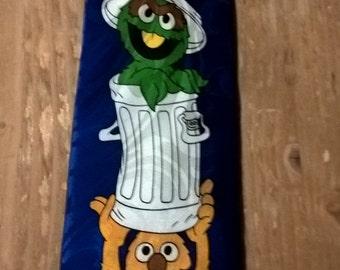 Super novelty Sesame Street Silk Tie - Vintage.. FREE SHIPPING