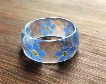 Real flower ring-real flower jewelry-forget me nots-forget me not ring-statement ring-memorial ring-gift-gift for her