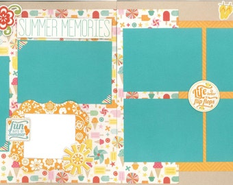 12x12 SUMMER MEMORIES scrapbook page kit, premade scrapbook, 12x12 premade scrapbook page, premade scrapbook pages, 12x12 scrapbook layout