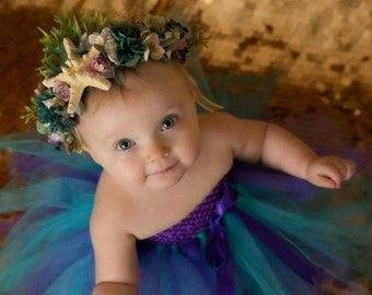 Purple Teal Tutu Dress  - Newborn Infant Toddler - Flower Girl Birthday Dress Spring