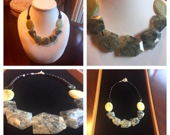 Prehnite and Marble necklace