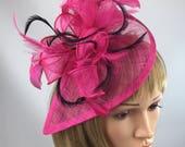 8b57f6bd01265 Fuchsia Pink Hot Pink and black Fascinator Sinamay Fascinator wedding  mother bride Ladies Day Ascot races