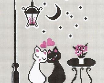 Cross stitch kit Cat's love