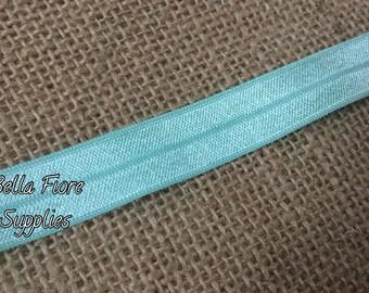 Mint Green Fold Over Elastic- FOE- Mint Green Elastic- 5/8 Inch Elastic- Wholesale- DIY Headband- Elastic by the Yard