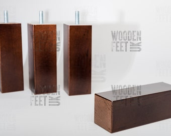 NEW 4 x brown wooden furniture feet/ legs for sofa, chairs, stool etc...