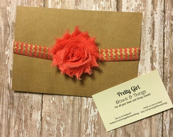 Coral flower on a coral and gold chevron Headband Elastic