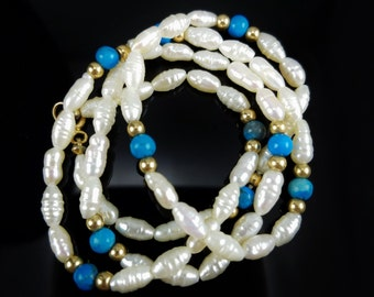 """18"""" Freshwater Rice Pearl, Turquoise & Gold Bead Necklace with 14K Gold Clasp"""