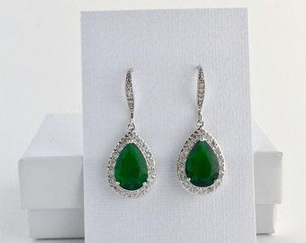 Green Crystal Earrings Green Bridal Earrings Green Cubic Zirconia Jewelry Emerald Green Drop Earrings Green Bridesmaid Jewelry Green Emerald
