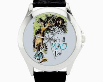 Alice Cheshire Cat Watch - Alice in Wonderland Watch - We're All Mad Here Watch -Ladies Watch - Alice Jewelry - Alice Girl's Watch