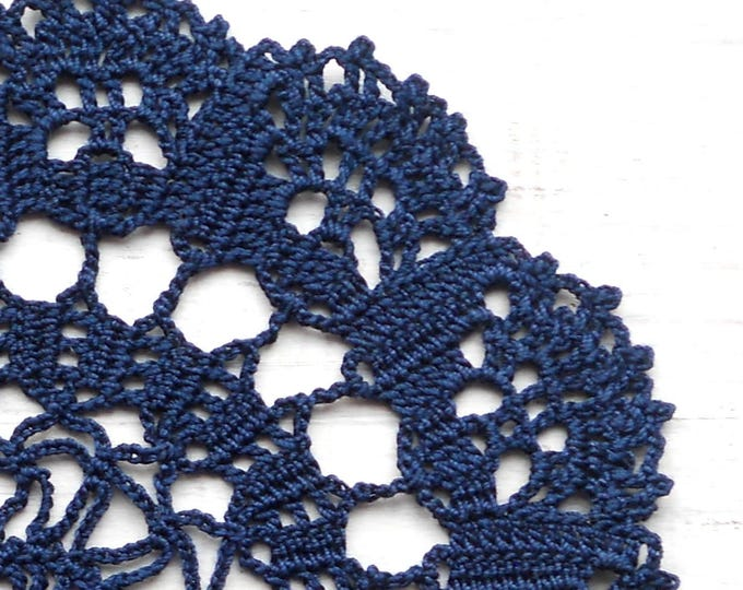 7 inch Doily, Handmade Crochet Navy Blue Doilie, Dark Blue Round Doily, Vintage Style Doily, Vintage Interior Design, Table Decor
