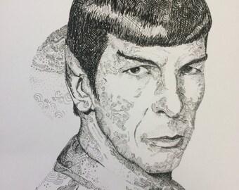 """Leonard Nimoy """"Spock"""" Pen & Ink line portrait (8.5 x 11 in)"""