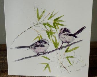 Long Tailed Tits - beautiful greetings card from a watercolour by Pauline Merritt