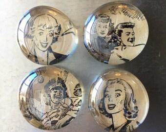 Vintage time magazine marble magnets, set of 4
