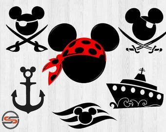 Pirate Mickey SVG, DXF, Disney Cruise Anchor, Ship, Disney Cruise Clipart, Cutting File, Instant Download, Cricut, Disney, Silhouette