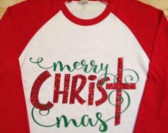 Merry CHRISTmas Raglan Shirt, Christmas Shirt, Christmas Gift