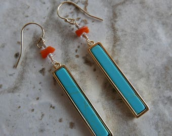 Authentic Red Coral and Turquoise Statement Earrings