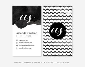 Calligraphic Watercolor Business Card Template | Digital Photoshop Template | Business Card Design | Business Cards | INSTANT DOWNLOAD