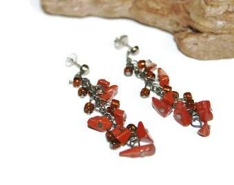 Red Jasper Earrings, Red Jasper Jewelry, Red Gemstone Earrings, Gemstone Jewelry, Dangle Earrings, Ethnic Fashion, Bohemian Jewelry, Boho