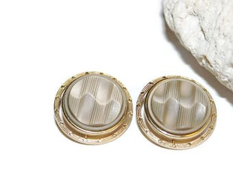 Gold and Taupe Earrings, Button Earrings, Circle Earrings, Button Style Earrings, 50s Housewife, Mad Men,  for Non Pierced Ears, Retro