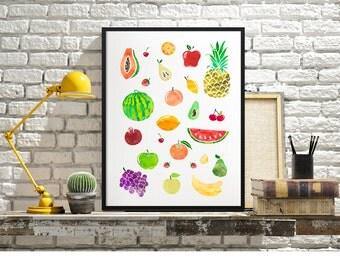 Fruit Watercolor Print, Kitchen Wall Art, Fruits, Culinary Print, Pinneaple Watercolor, Fine Art, Gift Idea - DIGITAL PRINT-