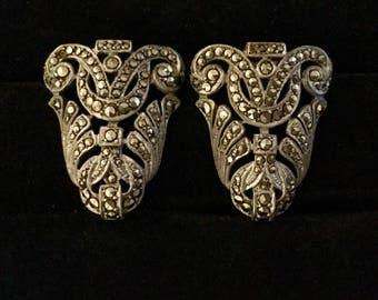 Vintage 925 Silver Art Deco Marcasite Earrings FLASH SALE