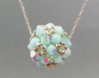 Mint Crystal Beaded Pendant,  Beaded Bead Necklace, Crystal Ball Pendant, Aqua Crystal Necklace, Mint Beaded Pendant , Aqua Beaded Ball