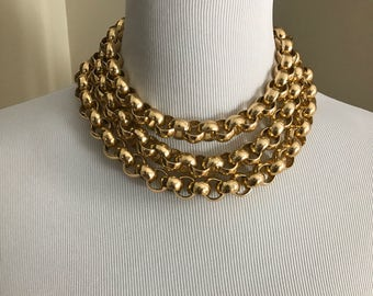 Vintage Triple Chunky Chain Gold Necklace. Triple Strand Chain - Short Chain Necklace