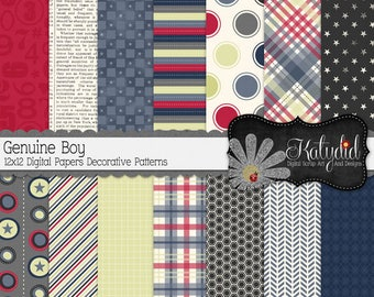 Genuine Boy 12x12 300 dpi  Digital Scrapbook Decorative Pattern Papers and Backgrounds