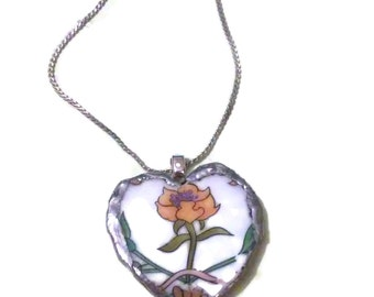Broken China Heart with .925 Sterling Silver Chain