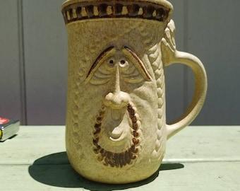 Bearded man vintage stoneware pottery mug