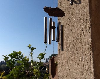 Wind chime for exterior or interior wood fleet and Metal
