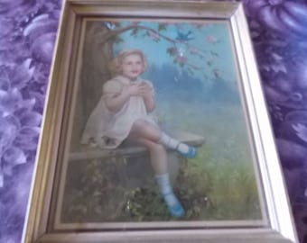 """Vintage Adelaide Hieble """"Here's My Bluebird""""Print Lithograph From Bluebird Series"""