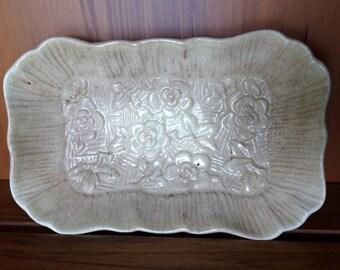 Vintage Lancaster & Sandland English Ware Pin Dish/Butter Dish. Beige Oblong Dish. Embossed Floral Design, Fluted Edge  VCH00901