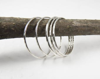 Sterling Silver Thin Ring, Set of 5 Thin Silver Stack Rings, Super Skinny Stacking Rings, Bridesmaid Gift
