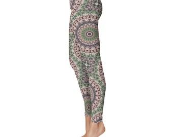 Unique Yoga Leggings - Womens Stretch Leggings, Fashion Leggings, Mandala Yoga Tights, Yoga Print Pants, Mandala Pants