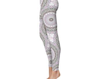 Yoga Pants Womens - Pink and Gray Leggings, Mandala Print Yoga Leggings, Art Tights, Mandala Flower Leggings