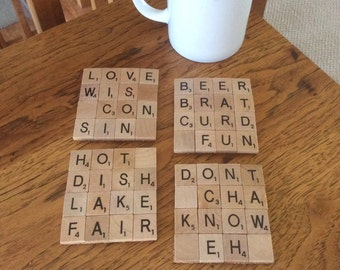 Wisconsin themed scrabble coasters
