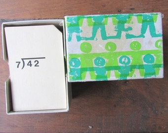Small Division Flash Cards Vintage Math Learning