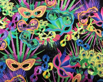 Mardi Gras masquerade mask fabric, New Orleans fabric, Fat Tuesday, carnival fabric