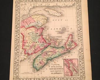 1870 Map of Nova Scotia New Brunswick & Prince Edward Island, Original Antique Map, Hand-Colored Map by Augustus Mitchell