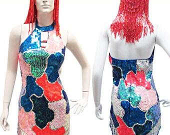 Sequin Dress - Robe Perler  - Diva Dress, Sequin Dance Dress,  Cabaret Dress, Sequin Dress, Show Dress, Paillettenkleid, Robe Danse