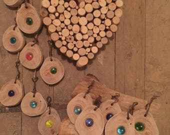 Rustic Wood and Glass Suncatcher Handmade Hanging Garden Ornament