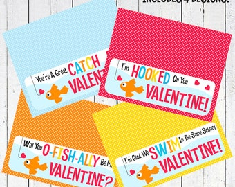 valentines day bag topper gold fish printable - Gold Fish Valentine's Day Bag Topper Printable