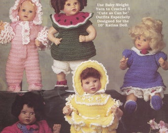 Katina Cuties, The Needlecraft Shop Crochet 16 inch Doll Clothes Pattern Booklet 971014