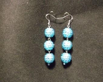 Blue Bling Ball Earrings