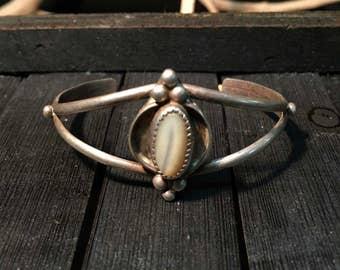 Vintage Navajo Sterling Silver/ Moonstone Cuff Bracelet   #157